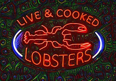 Terminal Painting - Live And Cooked Lobsters by Bill Cannon