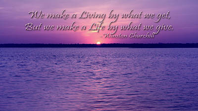 Coastal Quote Wall Art - Photograph - Live By, Life By Quote By Winston Churchill by Angie Tirado