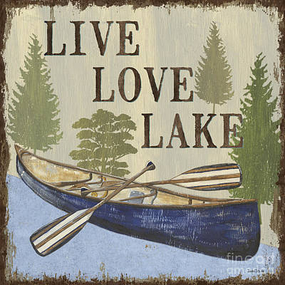 Colorful Boats Wall Art - Painting - Live, Love Lake by Debbie DeWitt