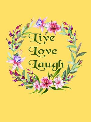 Digital Art - Live Love Laugh Wreath by Ericamaxine Price