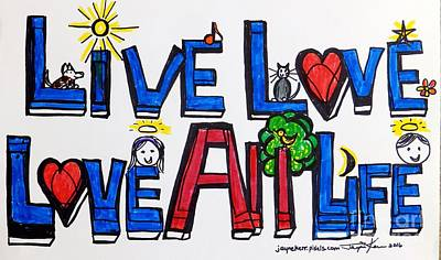 Obama Family Painting - Live Love, Love All Life by Jayne Kerr