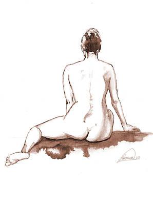 Live Model Figure   Art Print by Alban Dizdari