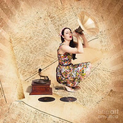 Disc Photograph - Live Music Pinup Singer Performing On Gig Guide by Jorgo Photography - Wall Art Gallery