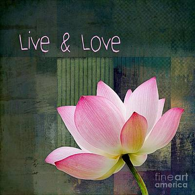Pink Flower Digital Art - Live N Love - - 0333-15a by Variance Collections