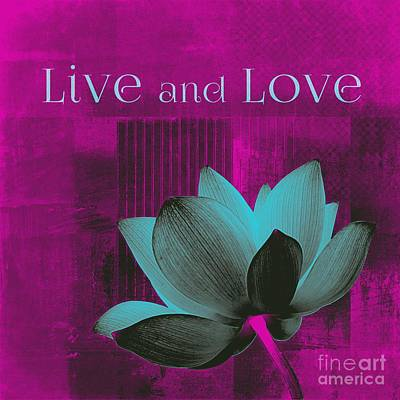 Waterlilies Digital Art - Live N Love - 15a01 by Variance Collections