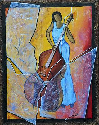 Bass Cello Painting - Live Performance by Arthur Covington