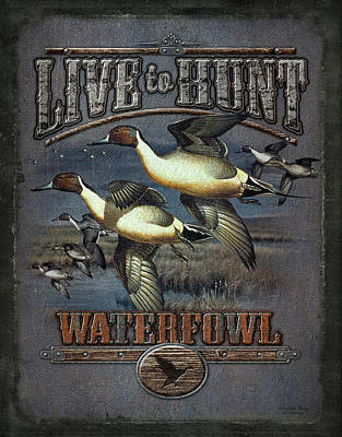 Hunting Painting - Live To Hunt Pintails by JQ Licensing