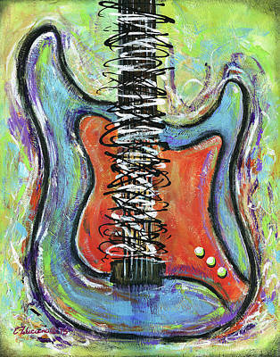 Painting - Live To Play Guitar by Elena Feliciano