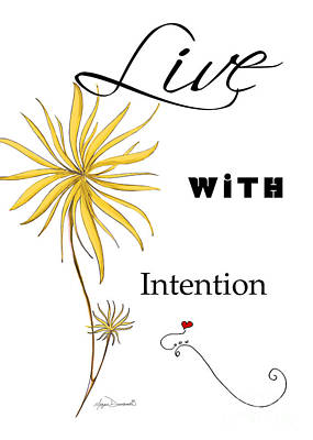 Live With Intention Flower Inspirational Print And Quote By Megan Duncanson Art Print by Megan Duncanson