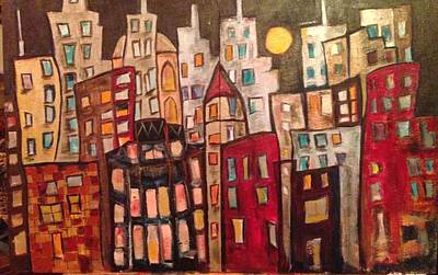 Cities Painting - Lively City Skyline by Roxy Rich