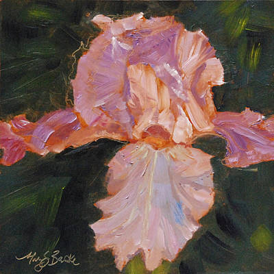 Outdoor Still Life Painting - Lively Iris by Mary Benke