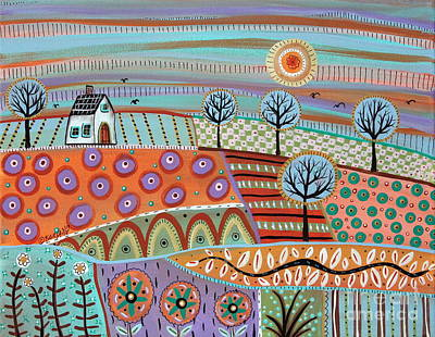 Primitive Folk Art Painting - Lively Landscape by Karla Gerard