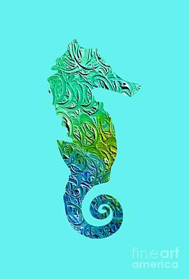 Digital Art - Lively Seahorse by Rachel Hannah