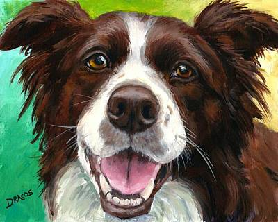 Herding Dog Painting - Liver And White Border Collie by Dottie Dracos