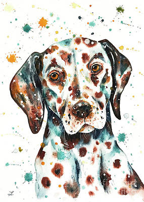 Doberman Pinscher Wall Art - Painting - Liver-spotted Dalmatian by Zaira Dzhaubaeva