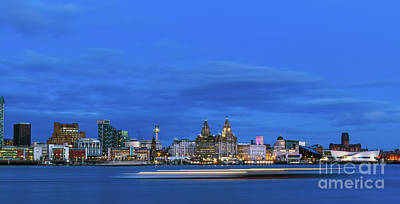 Photograph - Liverpool City Light Trails During Blue Hour by Andrew White