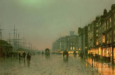 Street Lights Painting - Liverpool Docks From Wapping by John Atkinson Grimshaw
