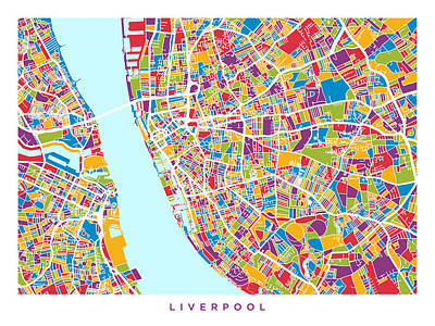 England Digital Art - Liverpool England City Street Map by Michael Tompsett