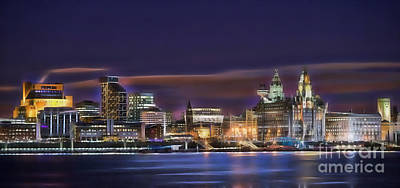 Mixed Media - Liverpool England Skyline by Marvin Blaine