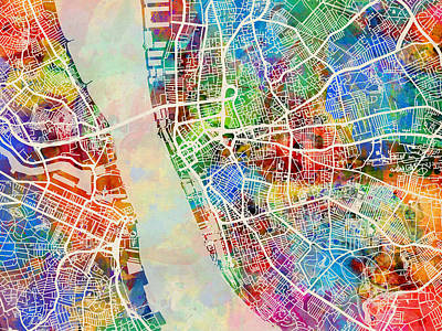 Great Britain Digital Art - Liverpool England Street Map by Michael Tompsett