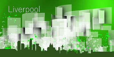 Liverpool Digital Art - Liverpool Green Skyline by Alberto RuiZ