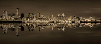 Photograph - Liverpool Skyline Panorama At Night - Sepia by Paul Madden