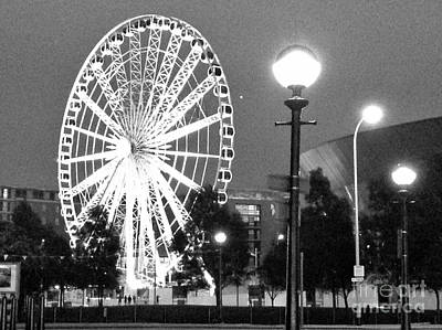 Photograph - Liverpool Wheel At Dusk In Bw by Joan-Violet Stretch