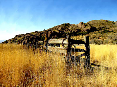 Las Cruces Digital Art - Livery Fence At Dripping Springs by Kurt Van Wagner