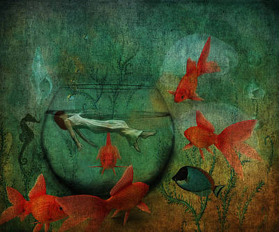 Goldfish Digital Art - Living In A Fishbowl by Terry Fleckney