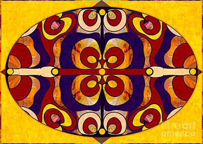 A Hand Mirror Drawing - Living In A Mandala Abstract Bliss Art By Omashte by Omaste Witkowski