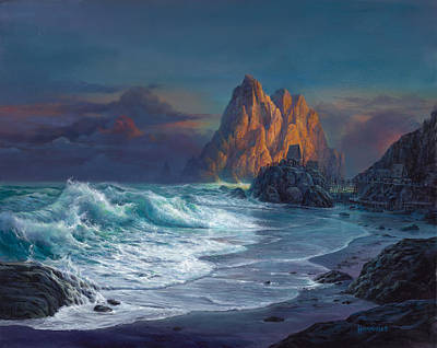 Seaside Painting - Living On The Edge by Michael Humphries