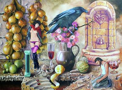 Glass Of Wine Painting - Living On The Table Vii. by Tautvydas Davainis