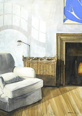 Slipcover Painting - Living Room With Matisse by Michael Bolton
