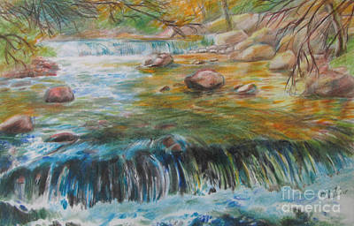 Pencil Drawing Waterfall Painting - Living Water by Jeanette Skeem
