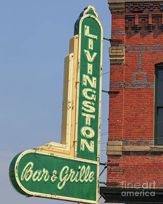 Photograph - Livingston Bar And Grill Old Neon Sign Montana by Edward Fielding
