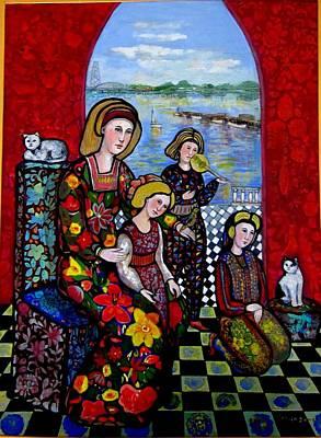 Liz Combing Madeline In Portsmouth Art Print by Marilene Sawaf