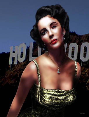 Digital Art - Liz Taylor by Virginia Palomeque