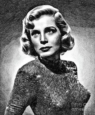 Musicians Drawings - Lizabeth Scott, Vintage Actress by JS by John Springfield