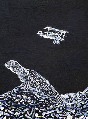 Painting - Lizard And The Red Baron by Fabrizio Cassetta