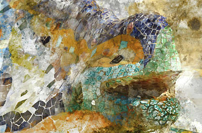 Salamanders Digital Art - Lizard In Parc Guell Barcelona Spain by Brandon Bourdages
