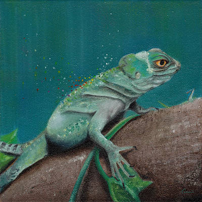 Iguana Wall Art - Painting - Lizard by Kathleen Wong