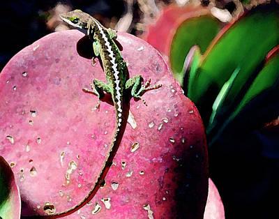 Lizard On Leaf Art Print