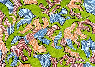 Terra Drawing - Lizard Terra Nova by Caroline Street
