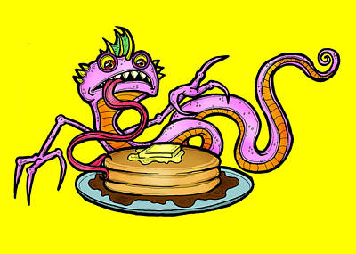 Drawing - Lizard V. Pancakes by Christopher Capozzi