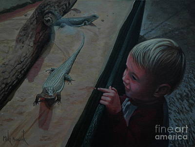 Painting - Lizards At The Zoo by Michael Nowak