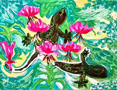 Lilly Pond Painting - Lizards by Nikki Dalton