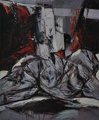 Abstracted Figuration Painting - Ljubicasti Akt by Mirjana Lucic