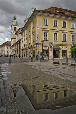 Photograph - Ljubljana Church Reflection - Slovenia by Stuart Litoff
