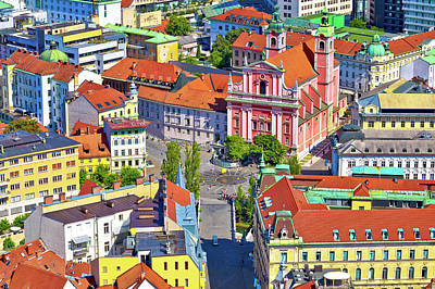 Photograph - Ljubljana City Center And Presern Square Aerial View by Brch Photography