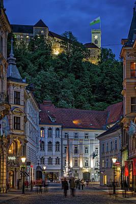 Photograph - Ljubljana Night Scene - Slovenia by Stuart Litoff